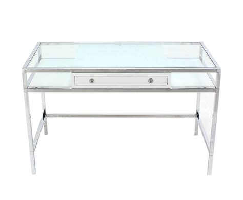 glass and chrome desk chrome and glass one writing desk at 1stdibs