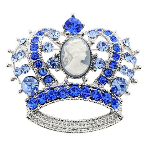 Crown Brooch sapphire blue cameo crown pin brooch fantasyard