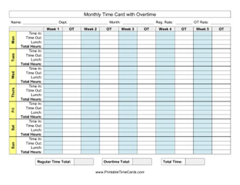 overtime time card template monthly time card with overtime time card