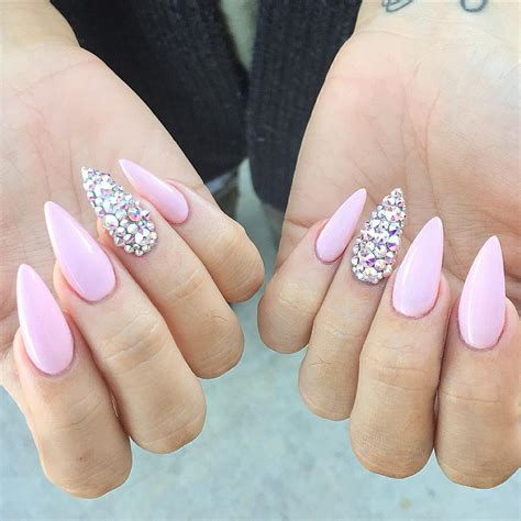 With Nails by Pastel Pink Stiletto Nails With Rhinestones Pink