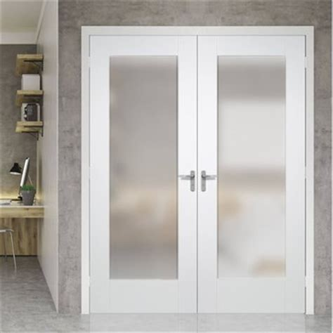 Interior Glazed Double Doors Pairmaker Interior White Frosted Glass Interior Doors