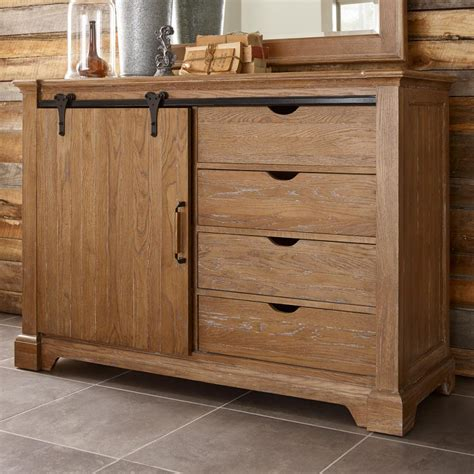 Barn Door Furniture Transitional Rustic Sliding Barn Door Media Chest With Clothing Storage By Furniture
