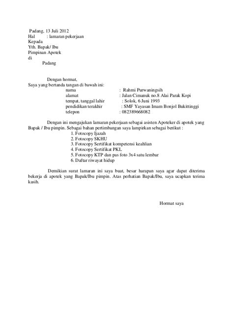 contoh surat lamaran kerja asisten apoteker wisata dan info sumbar
