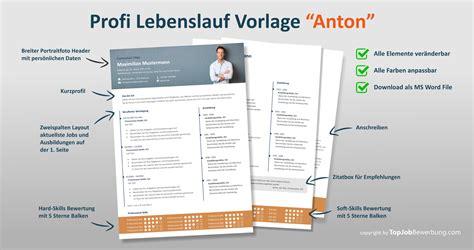 Der Perfekte Lebenslauf Vorlage by Profi Lebenslauf Vorlage Quot Anton Quot F 252 R Erfolgreiche Bewerbungen