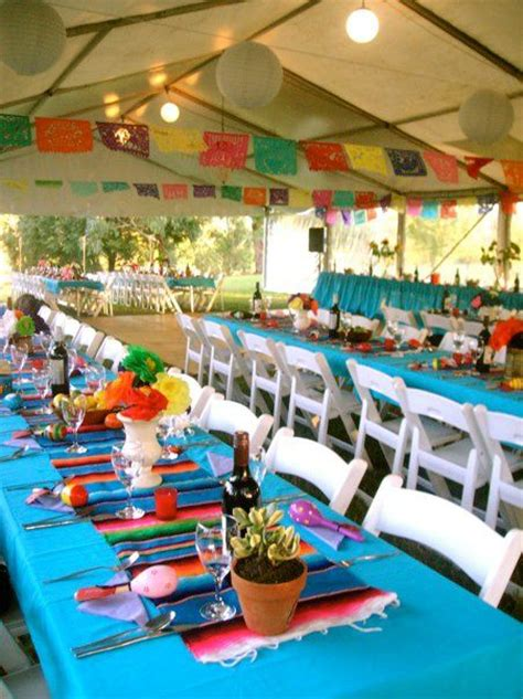 mexican themed table decorations for a mexican themed st dominic school