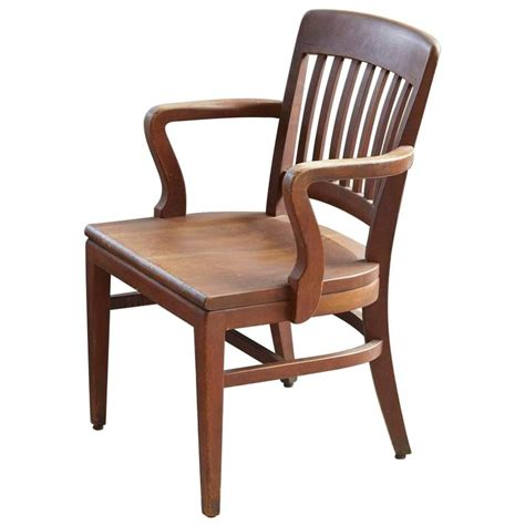 solid oak office armchair  wh gunlocke chair   stdibs