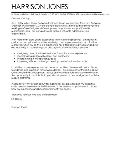 Software Cover Letter software engineer cover letter exles for engineering livecareer