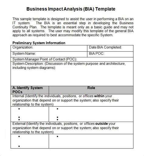 business impact analysis 5 documents in word pdf