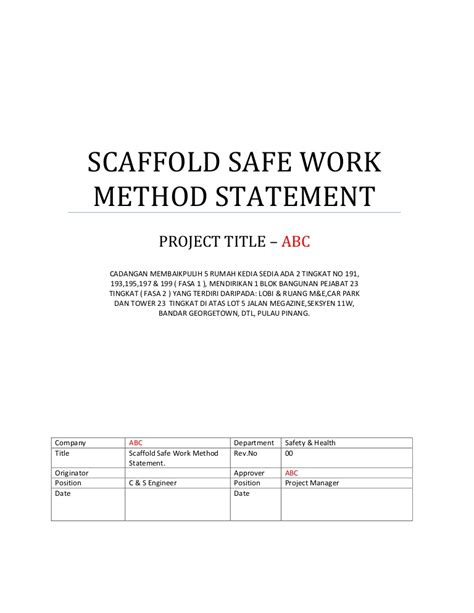 scaffold safe work method statement