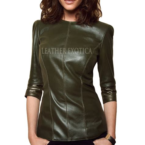 best leather half sleeve style leather top
