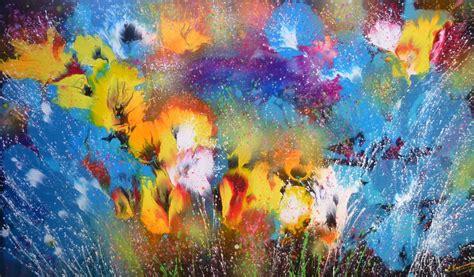 Abstract Flowers abstract flowers large acrylic painting irini karpikioti