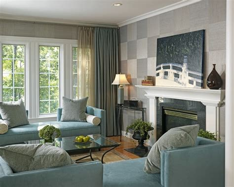 Gray Brown Curtains Decor Walls White Trim Blue Chair Fireplace Glass Tile In Shades Of Blue With