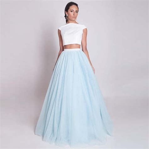 shipping blue long skirts maxi adult tulle skirt