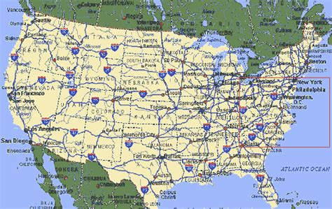 map of us states with interstates u s highways