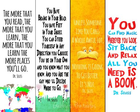 printable bookmarks dr seuss printable bookmarks dr seuss quotes instant by