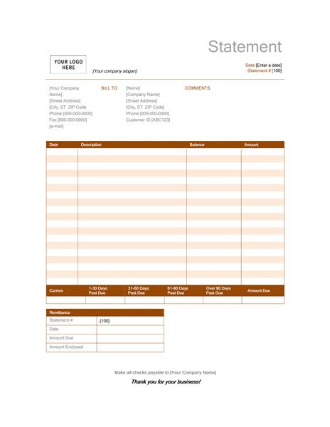 billing statement rust design statements templates