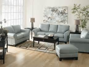 Living Room Decor Sets Light Blue Leather Sofa Sets For Living Room Decorating With Brown Hardwood Flooring And