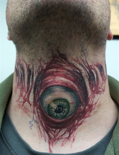 eyeball tattoo on neck evil eyeball tattoo on throat healed by graynd