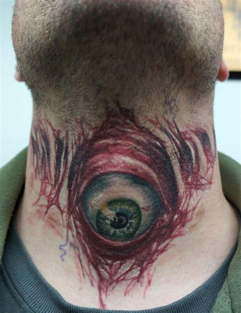 evil eye tattoo on neck evil eyeball tattoo on throat healed by graynd