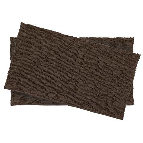chenille shag rug resort collection plush shag chenille mocha 2 17 in x 24 in bath rug set ymb001939 the