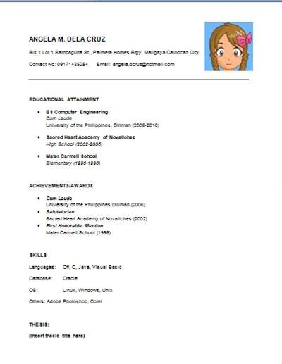 simple one page resume sle cv format simplebold idea exle of a simple resume 14