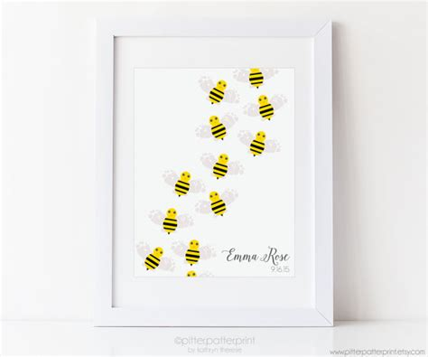 Bumble Bee Nursery Decor Bumble Bee Nursery Baby Shower Footprint Print Yellow