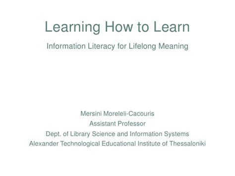 design literacy meaning learning how to learn information literacy for lifelong