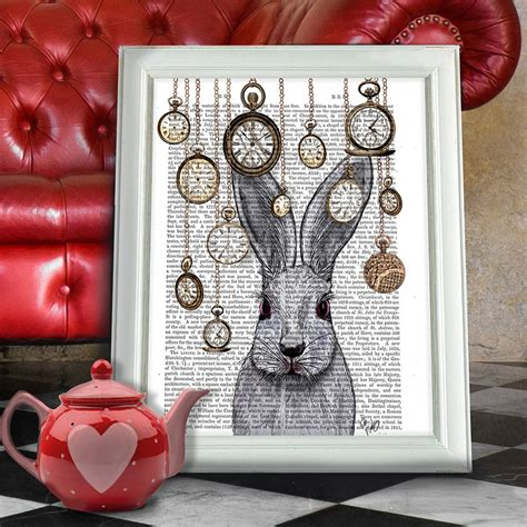 alice in wonderland home decor alice in wonderland print rabbit time by fabfunky home decor notonthehighstreet com