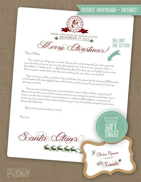 letter to santa template editable editable instant download letter from santa by