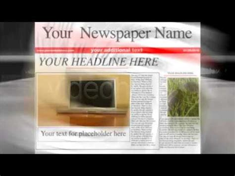 After Effects Template Newspaper Headlines Youtube Newspaper After Effects Template