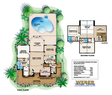 house plan with swimming pool 2975