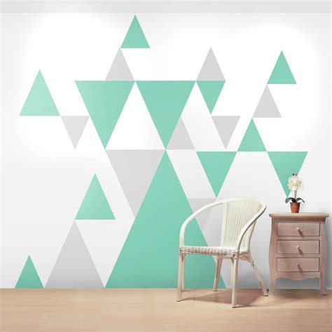 triangle pattern wall geometric pattern giant wall sticker set by oakdene