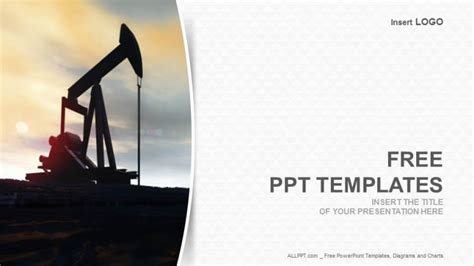 powerpoint templates free oil oil well silhouetted industry ppt templates