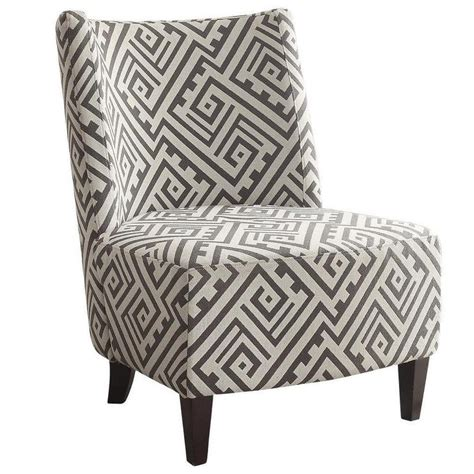 valentina designer fabric grey and white accent chair
