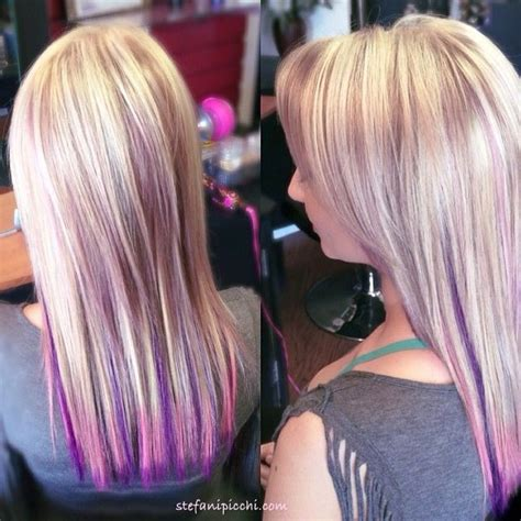 hairstyles with blonde and purple highlights pastel pink and purple highlights on blonde hair