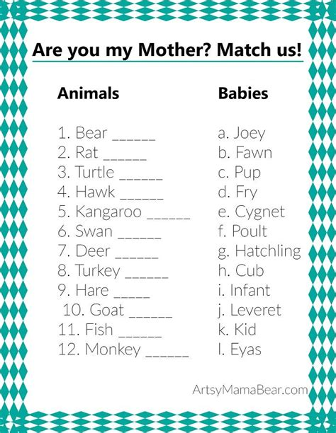 printable baby animal quiz animal matching baby shower game free printable