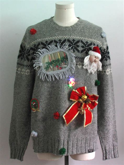 abercrombie and fitch reindeer sweater mens hand embellished ugly christmas sweater abercrombie