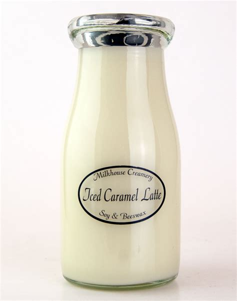 caramel latte scented candle 8 oz candle gift unique iced caramel latte 8 oz milkbottle candle by milkhouse