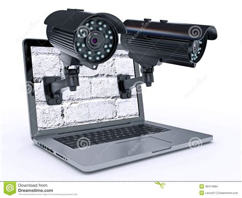 Cctv Laptop surveillance and laptop stock illustration illustration of monitoring equipment