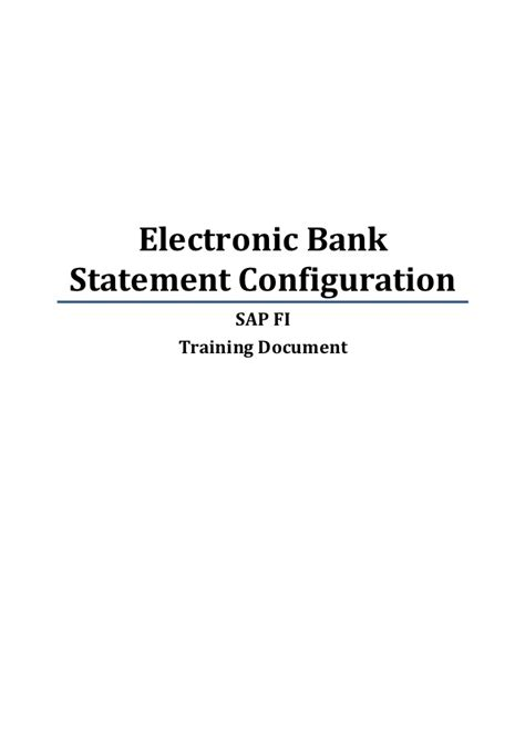 Electronic Bank Statement And Supporting Letter Sap Fi Electronic Bank Statement Configuration