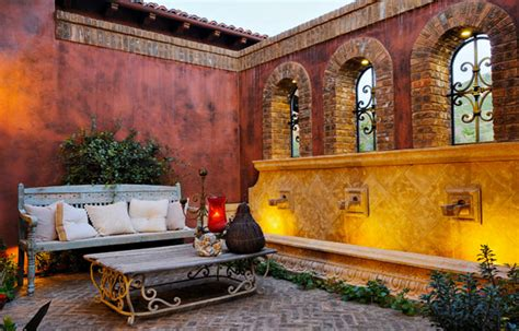 bench in latin architecture stunning mediterranean patio design with