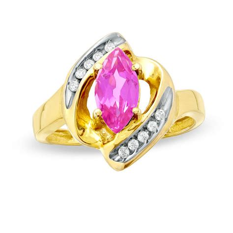 marquise pink sapphire and accent ring in 10k gold