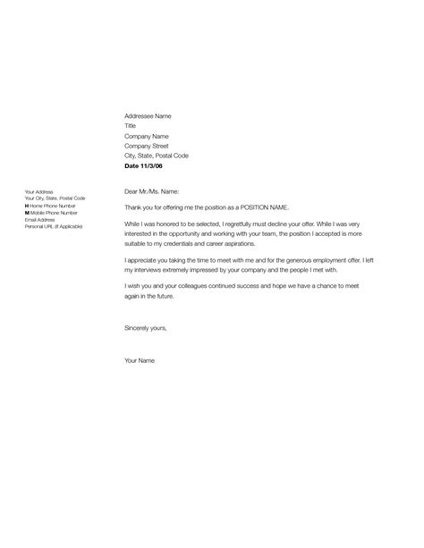 Rejection Letter Of Employment decline letter sle employment rejection letter to