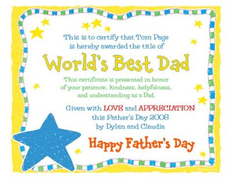 s day certificate world s best certificate s day printable card
