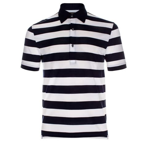 paul smith navy and white stripe cotton polo shirt in blue for navy lyst