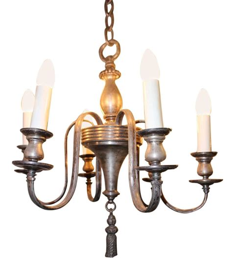 Colonial Style Chandelier 1920s Silver Plated Six Light Colonial Style Chandelier For Sale At 1stdibs