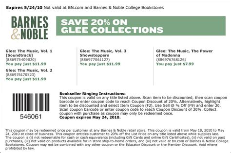 Barnes And Noble College Barnes Amp Noble Coupons For 50 Off Frappes 20 Off Glee