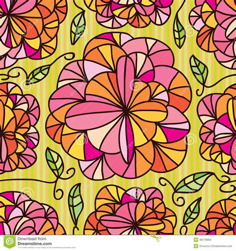 color pattern drawing flowers line draw seamless pattern stock vector image