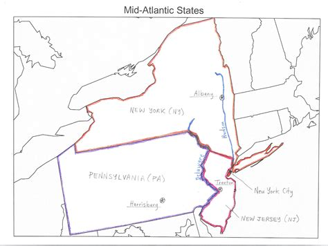Mid Atlantic Outline Map by Junior High American History Archive 2 History At Our House