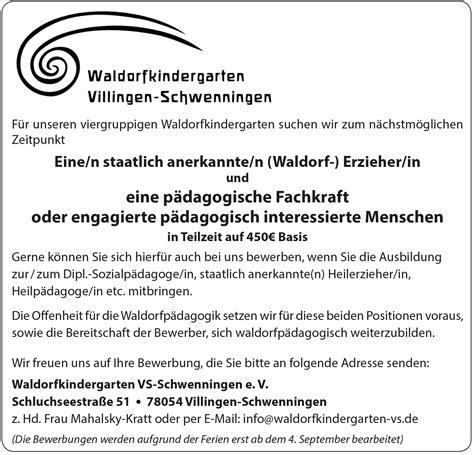 Bewerbung Erzieherin Gruppenleitung Erziehungskunst Waldorfp 228 Dagogik Heute Stellenanzeigen